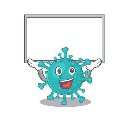 Happy cartoon character of corona zygote virus raised up board Illustration