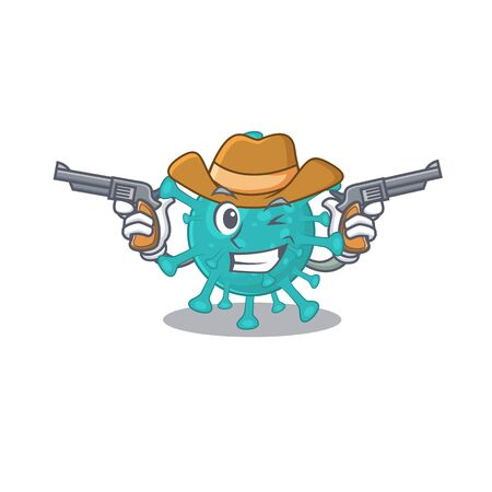 Funny corona zygote virus as a cowboy cartoon character holding guns