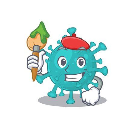 Talented corona zygote virus Artist cartoon character with brush