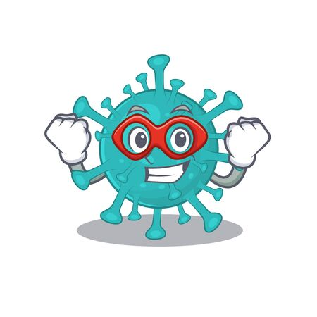 A picture of corona zygote virus in a Super hero cartoon character  イラスト・ベクター素材