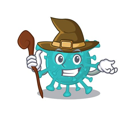 Cute and sneaky Witch corona zygote virus cartoon design style