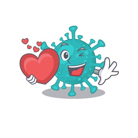 A romantic cartoon design of corona zygote virus holding heart