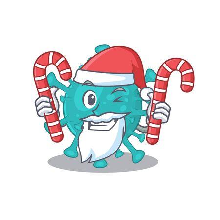 Friendly corona zygote virus in Santa Cartoon character having candies