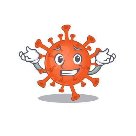 Happy face of deadly corona virus mascot cartoon style