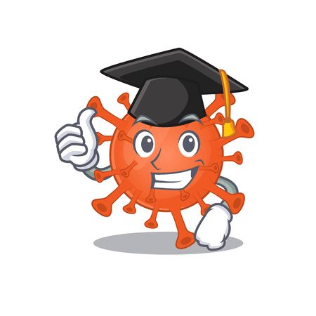 A picture of deadly corona virus with black hat for graduation ceremony