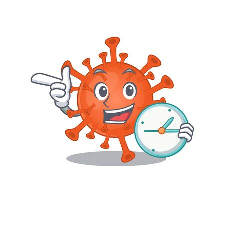 Cheerful deadly corona virus cartoon character style with clock