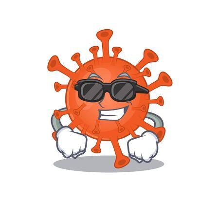Super cool deadly corona virus mascot character wearing black glasses  イラスト・ベクター素材