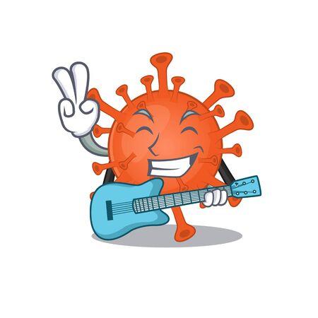 Super cool deadly corona virus cartoon playing a guitar  イラスト・ベクター素材