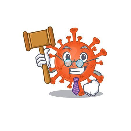 Charismatic Judge deadly corona virus cartoon character design wearing cute glasses