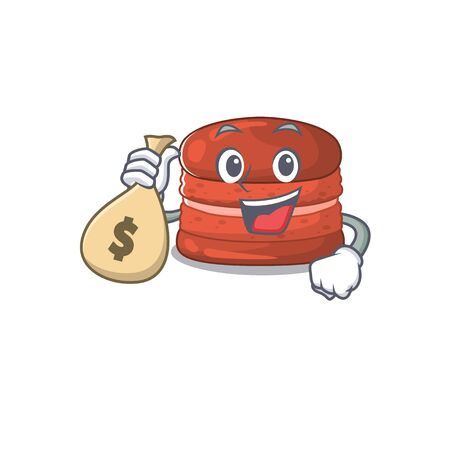 Smiley rich cherry macaron cartoon character bring money bags