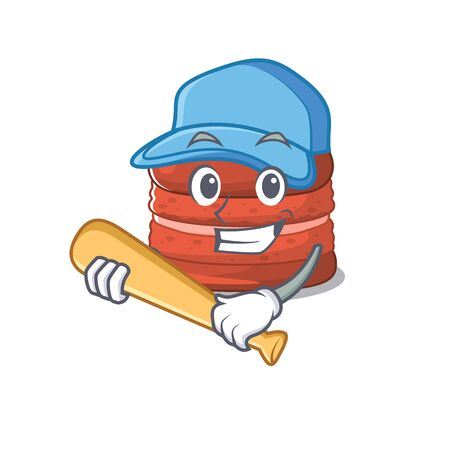 Mascot design style of cherry macaron with baseball stick