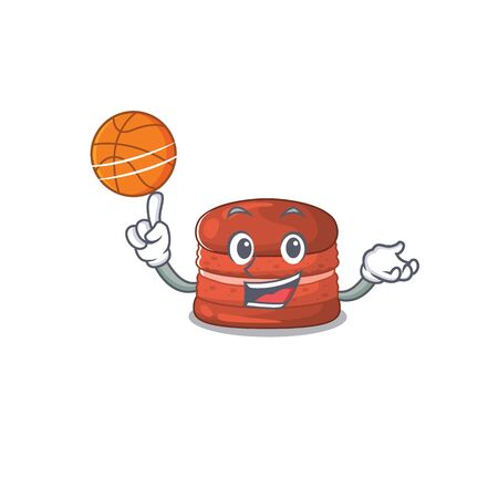 A sporty cherry macaron cartoon mascot design playing basketball