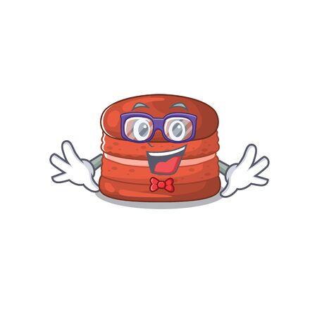 Super Funny Geek cherry macaron cartoon character design  イラスト・ベクター素材