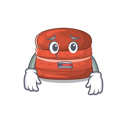 Cartoon picture of cherry macaron showing anxious face