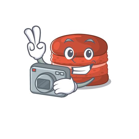 Cherry macaron mascot design as a professional photographer with a camera