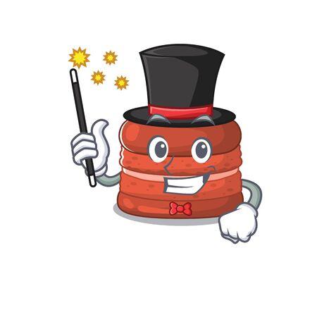 Charming cherry macaron cartoon design performance as a Magician style