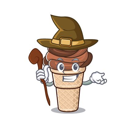 Cute and sneaky Witch chocolate ice cream cartoon design style. Vector illustration