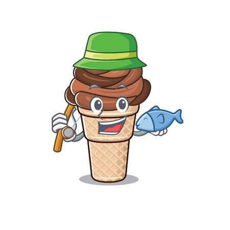 A Picture of funny Fishing chocolate ice cream design. Vector illustration 向量圖像