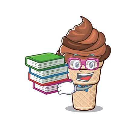 A diligent student in chocolate ice cream mascot design with book. Vector illustration 向量圖像