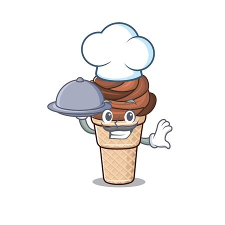 Chocolate ice cream as a chef cartoon character with food on tray. Vector illustration 向量圖像