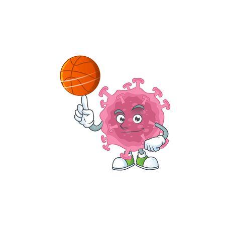 Attractive corona virus parasite cartoon design with basketball  イラスト・ベクター素材