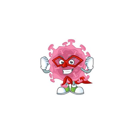 A picture of corona virus parasite dressed as a Super hero cartoon character. Vector illustration