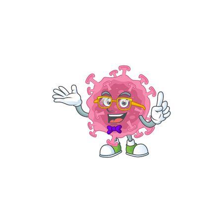 Super Funny corona virus parasite in nerd mascot design style. Vector illustration