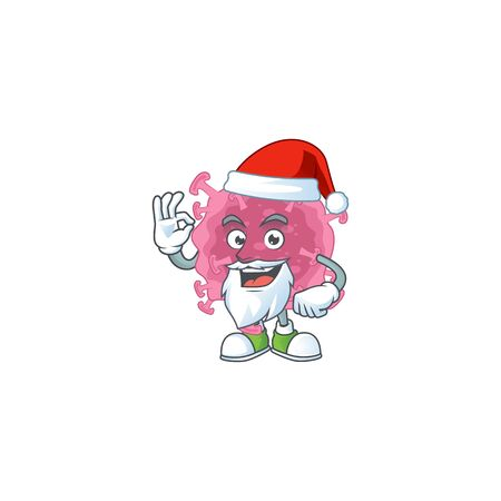 Corona virus parasite cartoon character of Santa showing ok finger