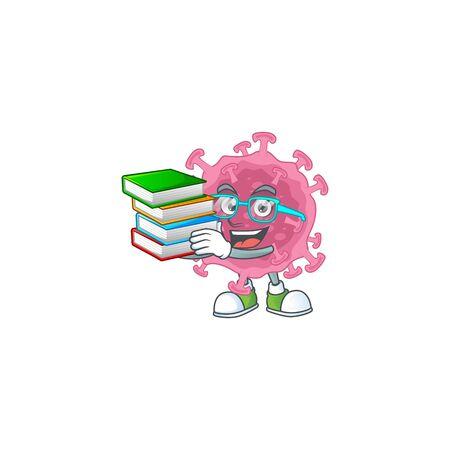 A hard-working student in corona virus parasite cartoon design with book
