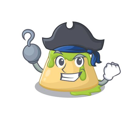 Cool pudding green tea in one hand Pirate cartoon design style with hat. Vector illustration