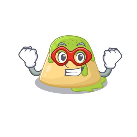 A picture of pudding green tea in a Super hero cartoon character. Vector illustration