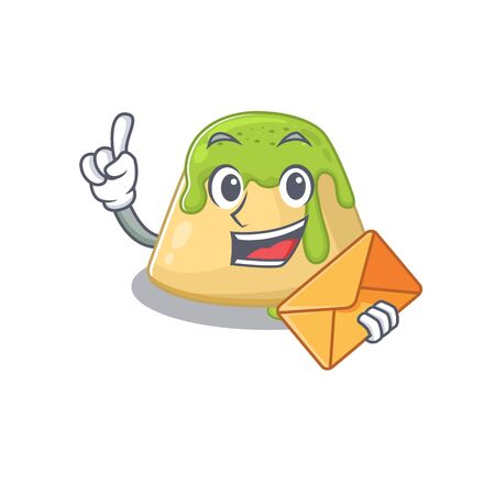Cute face pudding green tea mascot design with envelope. Vector illustration