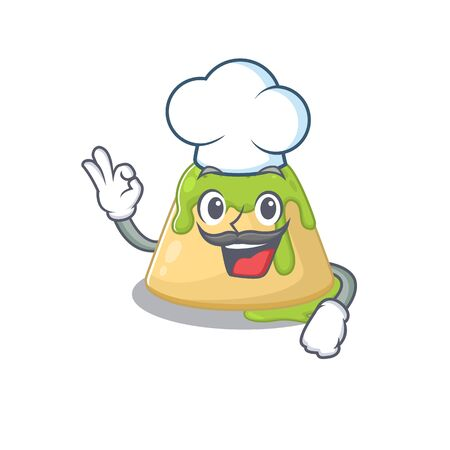 Cute pudding green tea cartoon character wearing white chef hat. Vector illustration