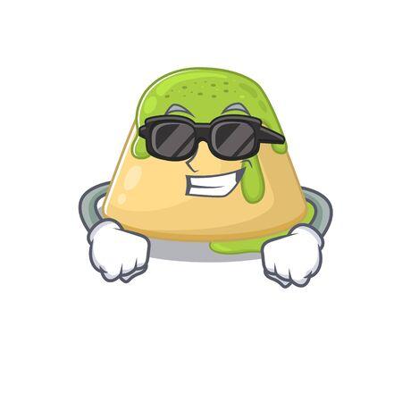 Super cool pudding green tea mascot character wearing black glasses. Vector illustration