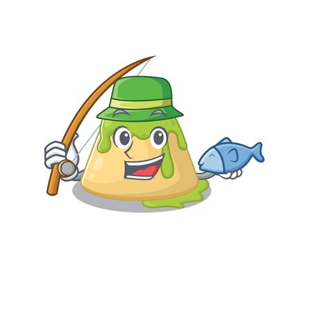 A Picture of funny Fishing pudding green tea design. Vector illustration