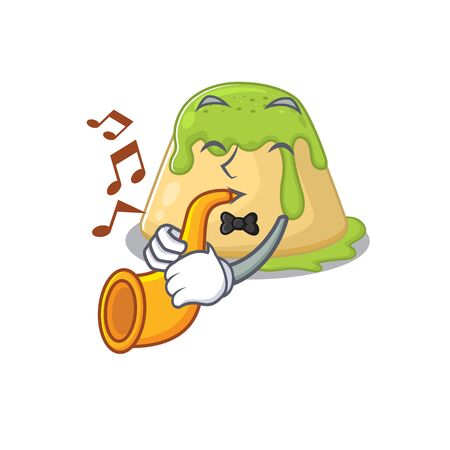 Pudding green tea cartoon character design playing a trumpet. Vector illustration