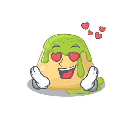 cute pudding green tea cartoon character showing a falling in love face. Vector illustration