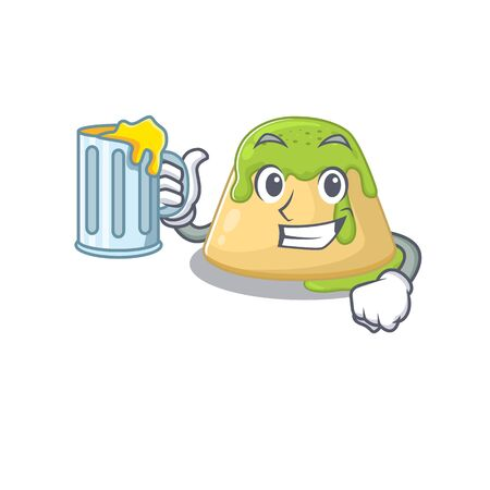 Cheerful pudding green tea mascot design with a glass of beer. Vector illustration