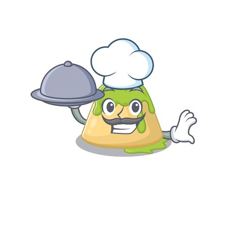 Pudding green tea as a chef cartoon character with food on tray. Vector illustration