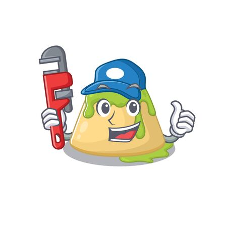 Smart Plumber pudding green tea on cartoon character design. Vector illustration