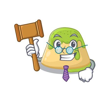Charismatic Judge pudding green tea cartoon character design wearing cute glasses. Vector illustration