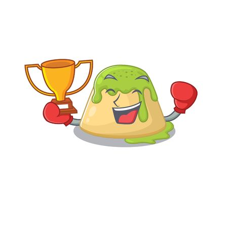 Happy face of boxing winner pudding green tea in mascot design style. Vector illustration