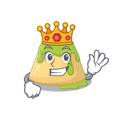 The Royal King of pudding green tea cartoon character design with crown. Vector illustration