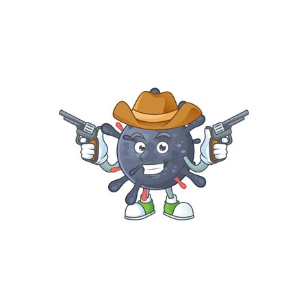Cool cowboy cartoon design of coronavirus epidemic holding guns