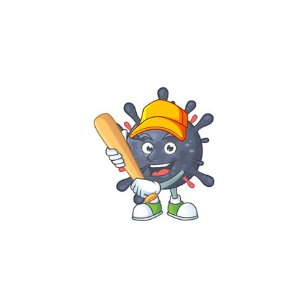 Cartoon design of coronavirus epidemic having baseball stick Vettoriali