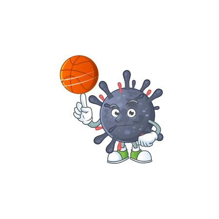 Attractive coronavirus epidemic cartoon design with basketball