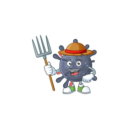 Coronavirus epidemic in Farmer mascot design with hat and pitchfork