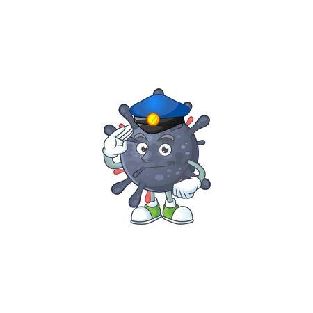 A cartoon of coronavirus epidemic dressed as a Police officer