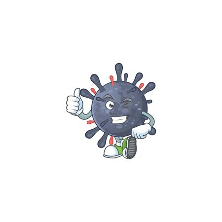 Coronavirus epidemic cartoon character making Thumbs up finger