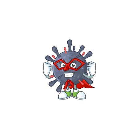 A picture of coronavirus epidemic dressed as a Super hero cartoon character  イラスト・ベクター素材